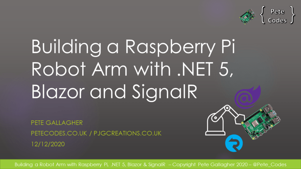 Building a Raspberry Pi Robot with Dot NET 5, Blazor and SignalR