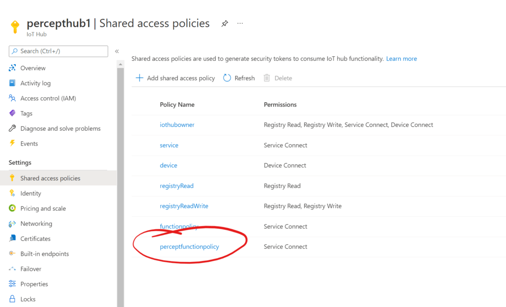 IoT Hub - Added Shared Access Policy