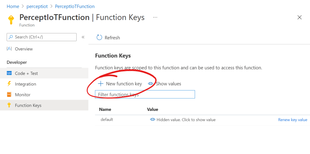 Azure Function - New Function Key Button