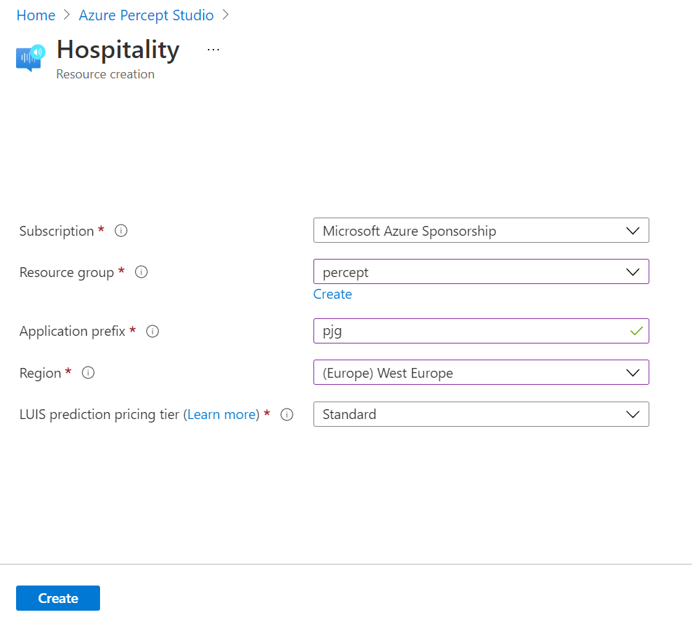 Azure Percept Audio - Hospitality Template Creation