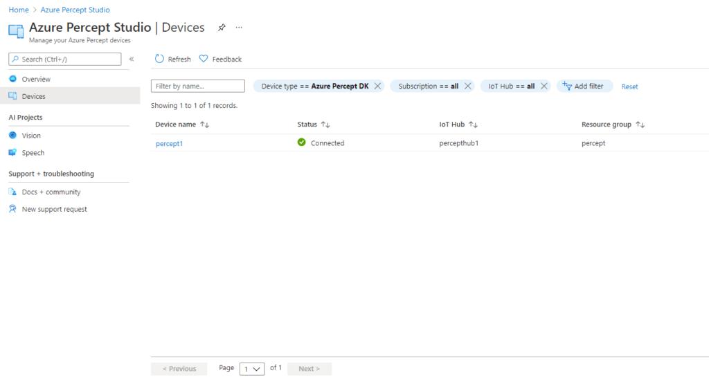 Azure Percept Studio - Devices